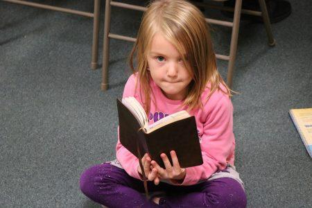 bible reading girl