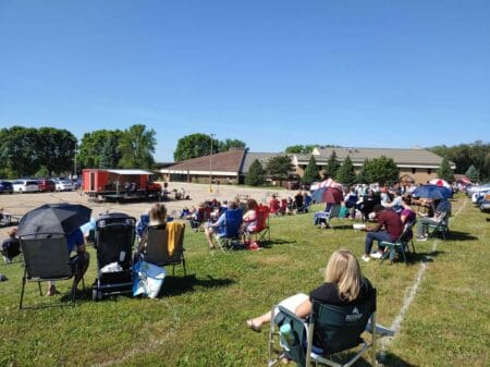 Calvary outdoor worship attendees