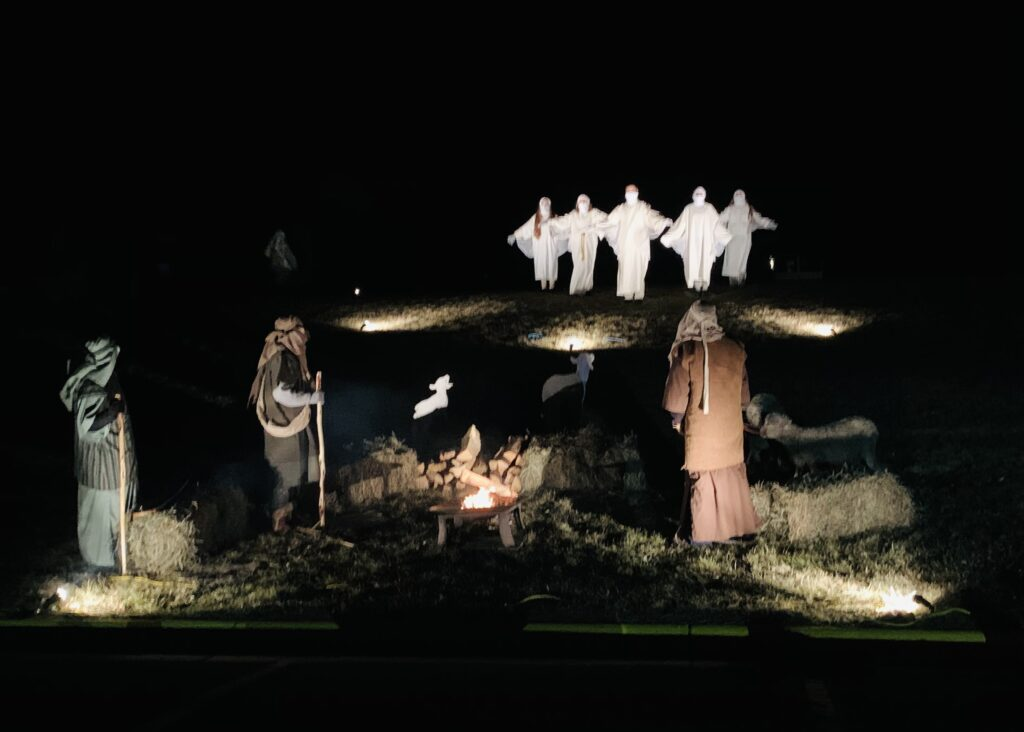 Drive-thru Live Nativity - the sheperds and angels