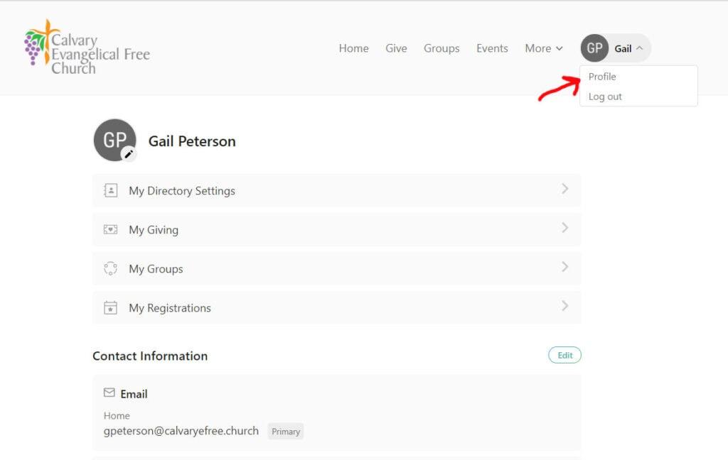 Church Center User Profile